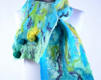 Pastel blue felt scarf with 3D felted balls - azure fiber art shawl, wearable art - warm and cozy natural winter scarf [S185]