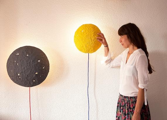 Mur appliques applique industrielle nuit lumi re eclairage - Lampe en papier mache ...