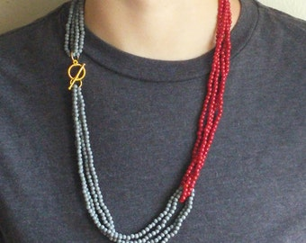 Vintage Beaded Necklace - Red and Blue - Toggle Clasp - Retro