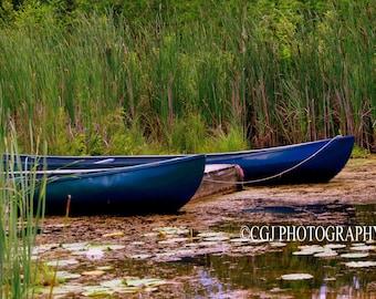 Blue Canoe, Canoe, Camping, Water, Nature, Boats, Blue,