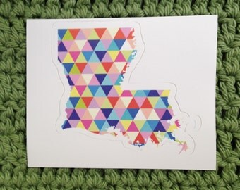 Vinyl Sticker - Louisiana - Colorful Hipster Geometric Triangles  - Laptop Sticker - Bumper sticker - New Orleans stocking stuffer