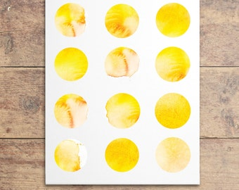 Yellow Nursery Art - Yellow Watercolor Dots - Yellow Polka Dot Print - Modern Baby Art - Watercolor Polka Dot Print - Kids Wall Art