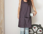 Cross back linen apron, Pinafore apron, Natural linen, Eco friendly