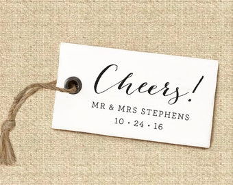 Thank You Stamp #7 - Wooden or Self-Inking - Calligraphy - Wedding Favors - Personalized — INCLUDES HANDLE