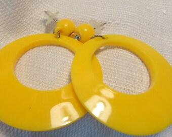 VINTAGE Earrings Donut Hole Earrings YELLOW Hoop Earrings Pierced earrings 2.75 inch long 2 inch wide