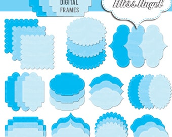 "Blue digital frames, TAGS Clipart, 36 Digital labels clip art. Printable frames digital tags 6"". Blue digital tags label clipart"