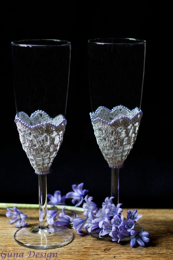 Classic Wedding Champagne Glasses with Grey Crochet Lace and Purple Beads by gunadesign