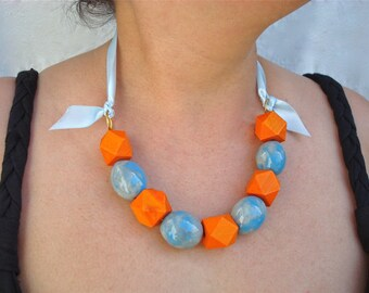 Chunky Baby Blue Ceramic Necklace -  Orange Geometric Wood Beads, Beaded Jewelry, Frida Mia Collection, Baby Blue Ribbon