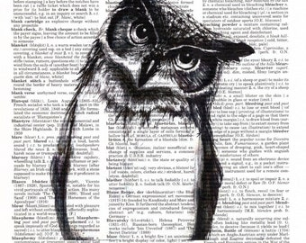 Vintage Wall Art Print - Dictionary Art - Vintage Dictionary Paper - Owl