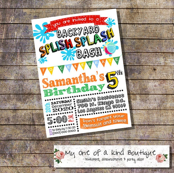 Splish Splash Backyard Bash Birthday Party Invitation Summer