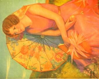 Original Vintage Ed Volkman Pretty Pink Umbrella Calendar Print