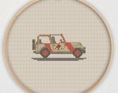 Jurassic Park Jeep Cross Stitch Pattern - Instant Download PDF