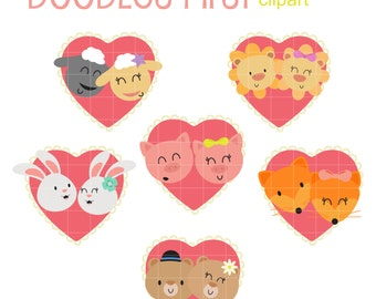 Cute Couples Clip Art for Scrapbooking Card Making Cupcake Toppers Paper Crafts