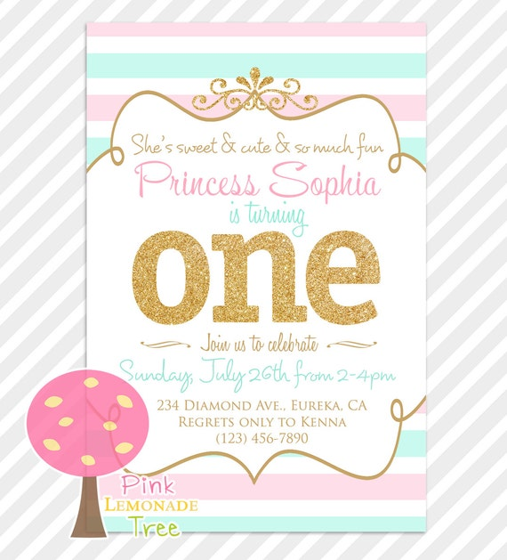First Birthday Party In A Box In Gold Mint And Pink: Pink Aqua Gold First Birthday Party Invitation Gold