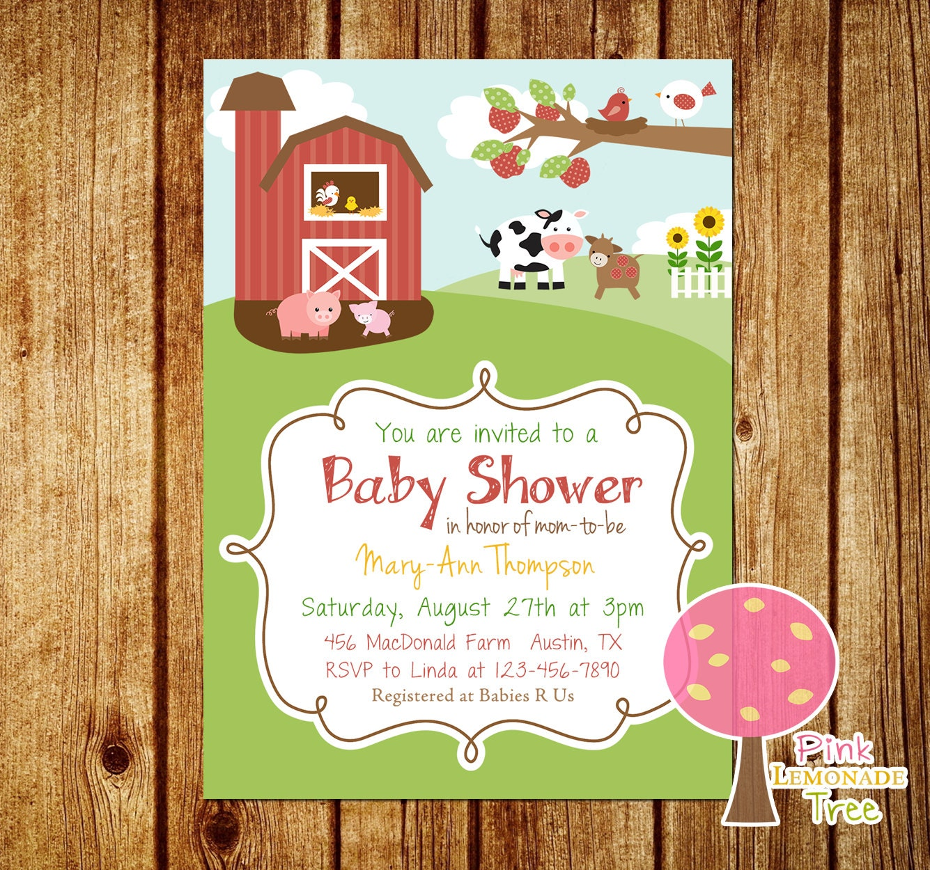 farm themed baby shower invitation gender by pinklemonadetree