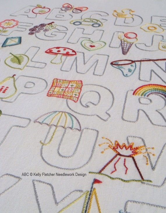 Abc modern alphabet hand embroidery pattern