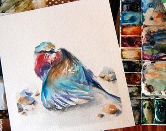 Bird Original Watercolor Painting, Lilac Bird Painting, Bird Painting, Bird Watercolour Art