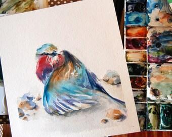Lilac Bird Original Watercolor Painting, Bird Watercolour Art