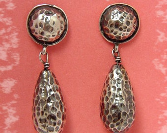 Sterling Silver - Hammered Oxidized Dangle Modernist Earrings - FREE SHIPPING