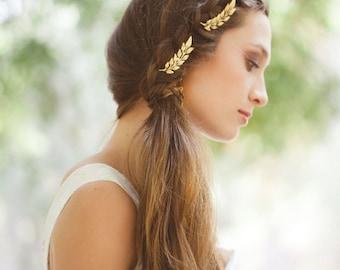 Gold Leaf Hair Accessories Leaf Bobby Pins Leaf Hair Pins Leaf Hair Clips Woodland Weddings Greek Goddess Grecian Bridal Hair Accessories