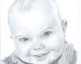 A5 Hand drawn pencil portraits gifts from your favourite photo