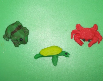 Frog, Turtle & Crab Cupcake Toppers