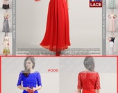 Sequinned Lace Maxi Dress - Lace Evening Dress - Red Lace Chiffon Dress - Long Prom Dress - Lace Prom Dress - Bridesmaid Dress - MM280B