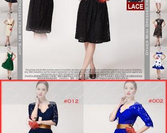 V Neck Black Lace Dress with Deep V Back and Broze Waist Yoke - Backless Lace Dress - Short Lace Prom Dress with Eyelash Details 15N217