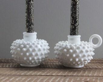 Vintage Fenton Hobnail Milk Glass Candle Holders