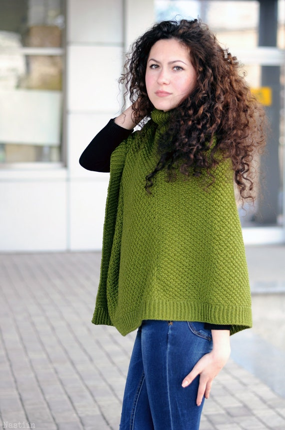 Knitting Pattern For Turtleneck Poncho : PDF Womens knitted poncho pattern knit cape pattern ...