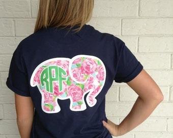 Lilly Inspired Elephant Monogram T-Shirt