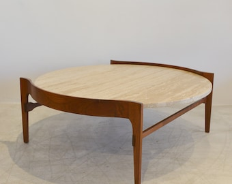 Travertine and Walnut Sculptural Coffee Table
