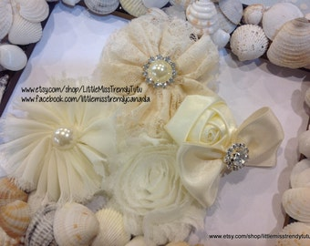 Couture Ivory Headband, Big Ivory Flower Headband, Ivory Vintage Flower Headband, Big Couture Headband, Headband, Ivory Photo Prop Headband