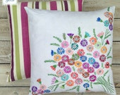 Hand Embroidered Floral Linen - Vintage Cream Square Flowery Cushion Cover - Vintage Home - Multi Coloured Pink Purple Green by Daisies Blue