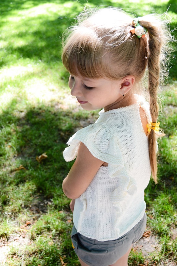White knit top, Children top t-shirt - toddler girls, baby, infant - Summer clothes for gilr