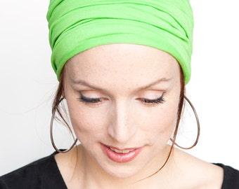 SALE - Neon Green Headband - Wide Headband Tube Headband Yoga Heaband Fitness Headband Pilates Head Wrap Women Hair Accessories Hair Band