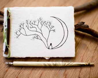 Dream Journal made from recycled handmade paper with Moon Tree design by Cliffwatcher