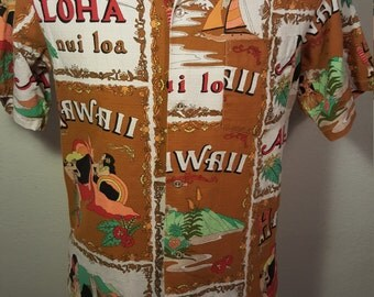FREE  SHIPPING    1960  BarkCloth Hawaiian  Shirt