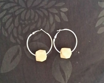 Silver Hoop Earrings with Wooden Hexagonal Shaped Beads