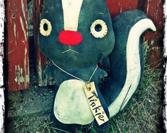 "Primitive ""Tinkie"" Skunk Folk Art Doll, Woodland Baby Decor, Rustic Country Cabin , OFG FAAP"