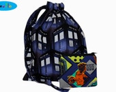 Sock Knitting Project Bag |  Knitting Bag | Doctor Who  Bag | Drawstring Pouch | TARDIS Bag