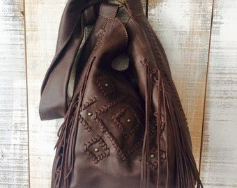 Brown leather crossbody bag, soft leather shoulder bag, bohemian crossbody, boho leather bag. Available in different leather colors