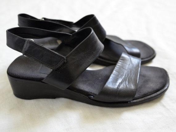 Black Leather Sandals Slides Minimalist Womens Ecco Vintage