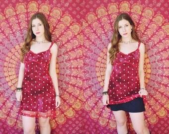 Red Mesh Daisy Spaghetti Strap Layered Mini Dress