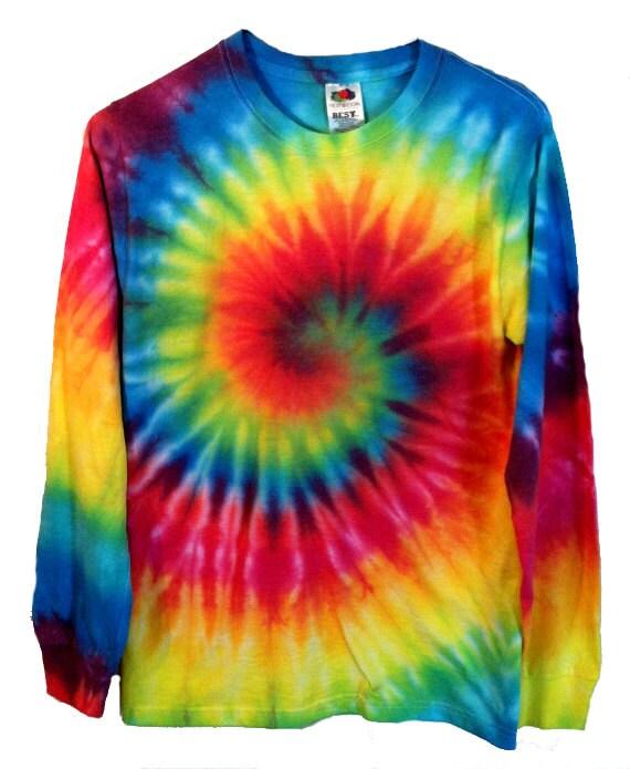 Tie Dye Shirt Long Sleeve Rainbow Spiral 100% Cotton