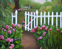 """Original Oil Painting, Still Life Painting, Garden Painting, Cottage Garden, Picket Fence, Pink Hydrangeas, Country Cottage, 8""""x10 """" canvas"""