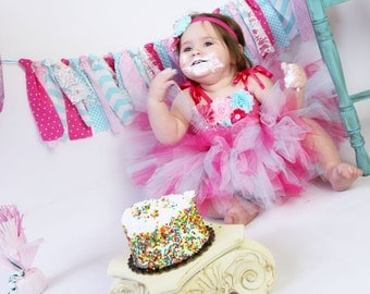 Pink and Aqua 1st Birthday Tutu Dress, Pink Aqua Flower Girl Dress, Pink Aqua Birthday Outfit
