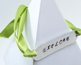 """Hand Stamped & Ribbon """"Explore"""" Bracelet - Price Reduced - Discontinued Item!"""