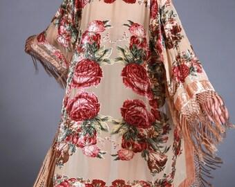 Velvet Beaded Fringe Kimono | Champagne Floral