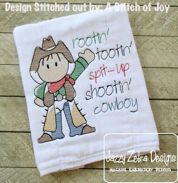 Cowboy Sketch Embroidery Design - boy Sketch Embroidery Design - western Sketch Embroidery Design